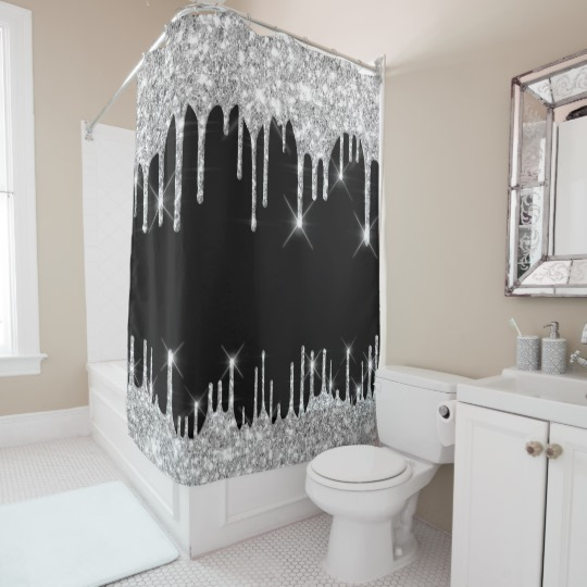 Spark Drips Glitter Effect Black Silver Gray Shower Curtain Zazzle Com Gray Shower Curtains Luxury Shower Curtain Silver Shower Curtain