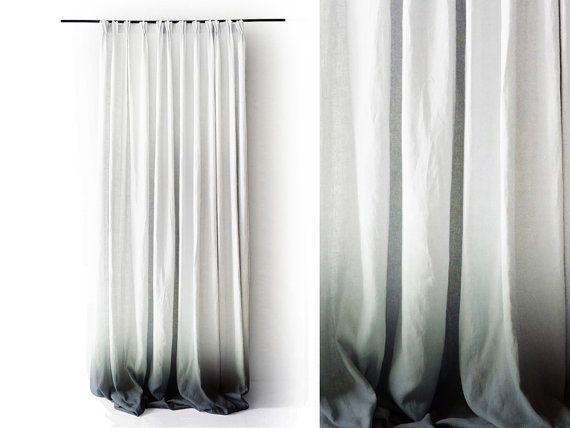 Ombre Leinen Gardinen grau verblassen zu weißen von LovelyHomeIdea - gardinen f r wohnzimmer