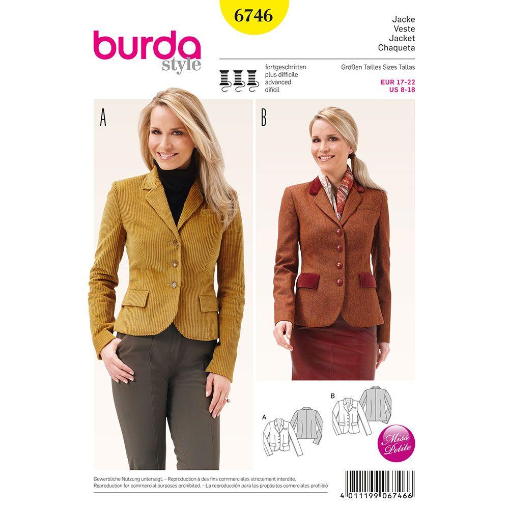 Misses Blazer Jacket Burda Sewing Pattern No. 6746. Size 8-18 ...