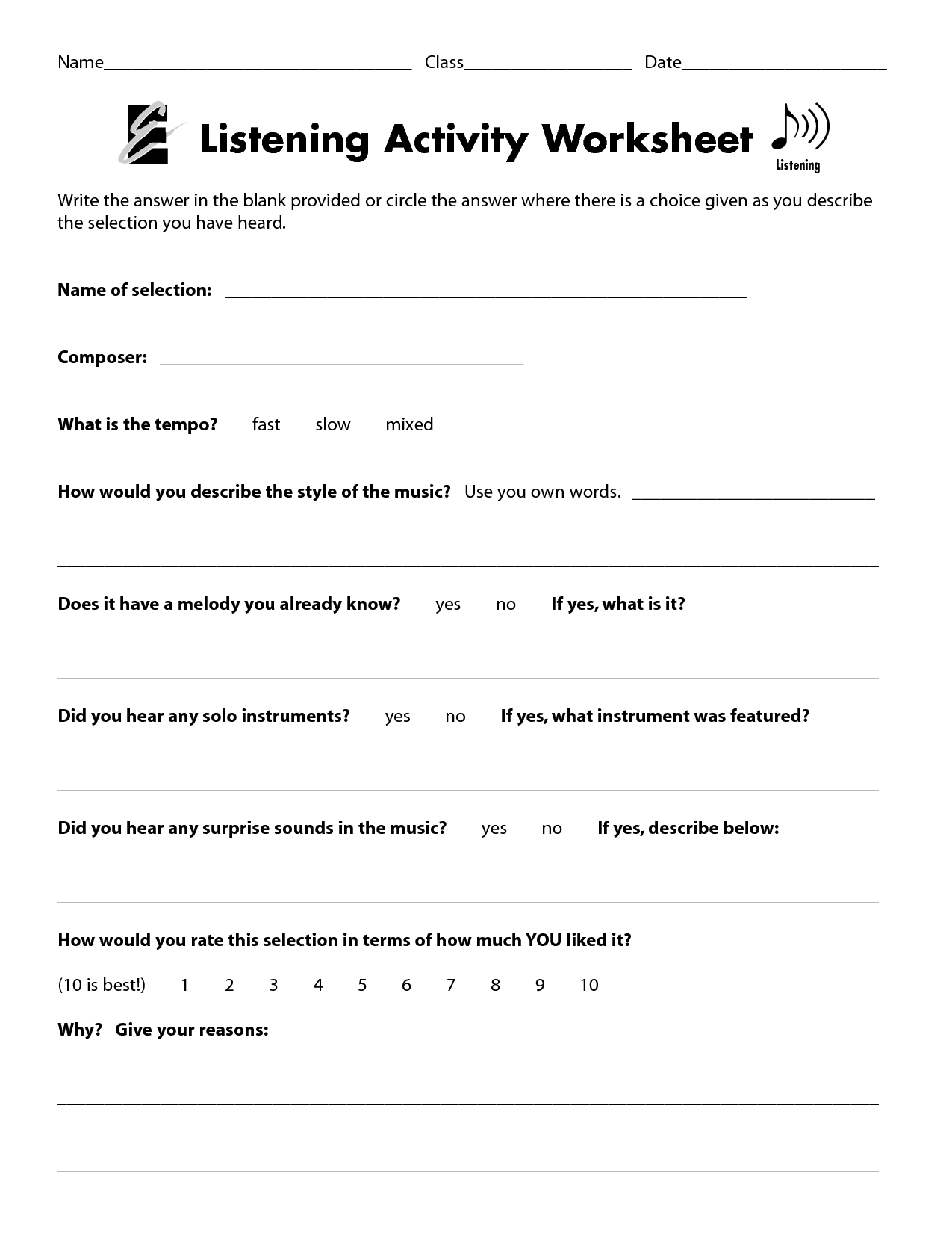 Listening Walk Worksheet – Listening Skills Worksheets