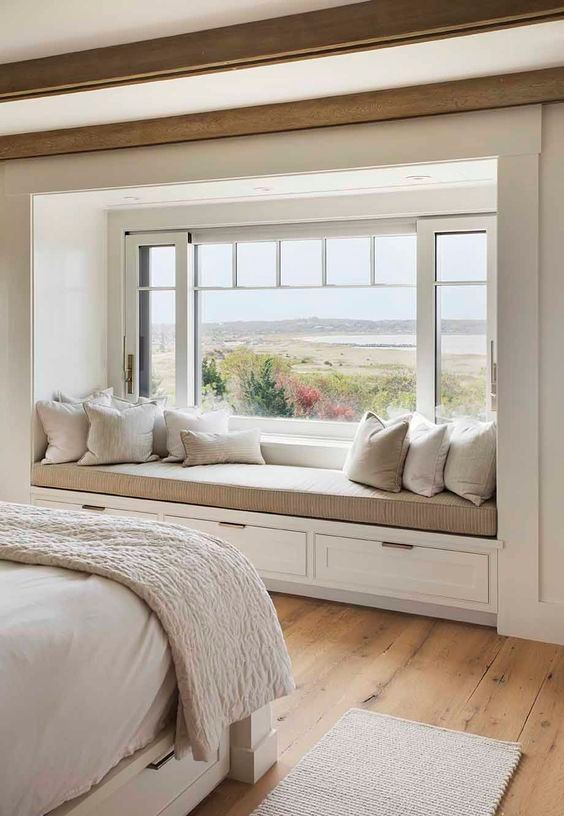 Bright Bedroom With Amazing Relaxing Place And View Painters Decorators Home Decor Bedroom Home Bedroom Bedroom Design