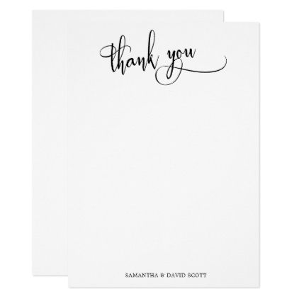 Black White Elegant Calligraphy Simple Thank You Zazzle