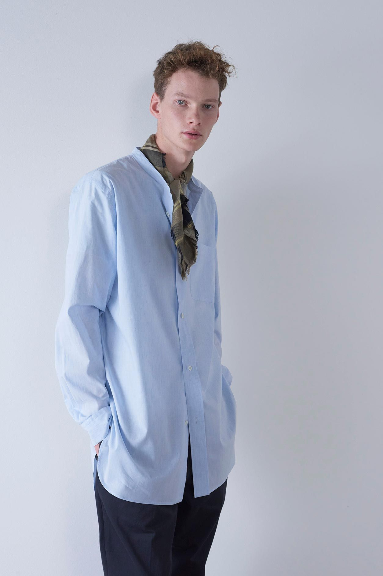 d508e6f12be Spring Summer 2019 - Pale blue end on end cotton linen oversized button  through collarless shirt