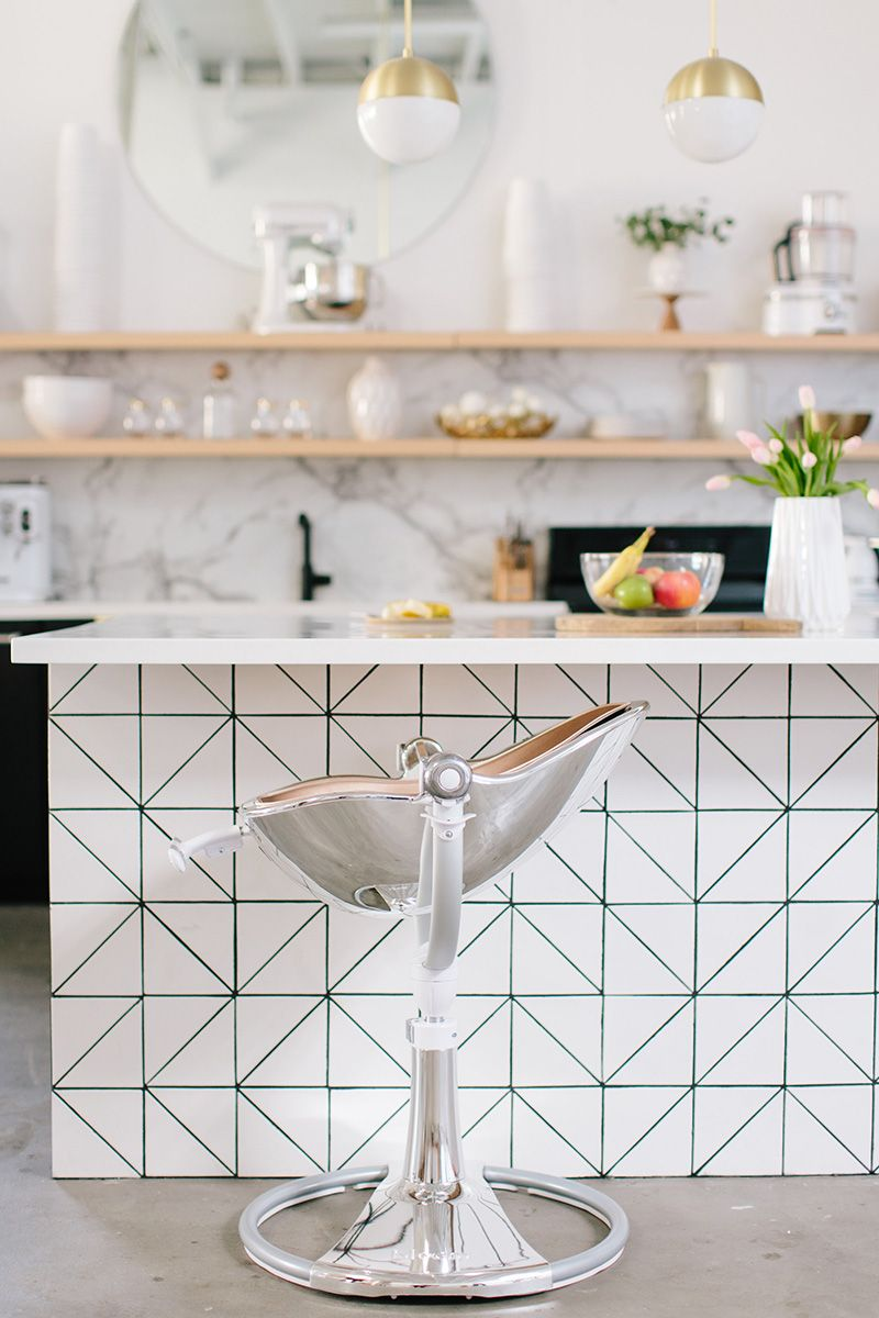 modern, clean, bright kitchen with bar stool, with bloom fresco ...