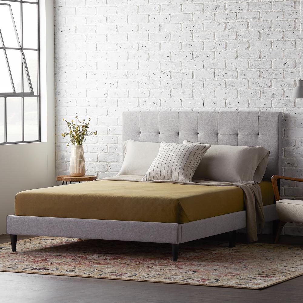 Rest Haven Upholstered Platform Bed Frame with Square Tufted