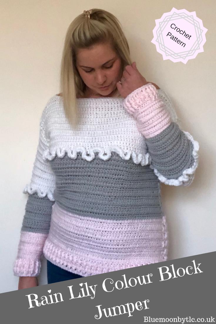 bd9affa24 Crochet Pattern for the Rain Lily Colour Block Jumper