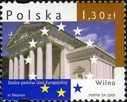 Poland stamp: Capital cities from the EU - Vilnius