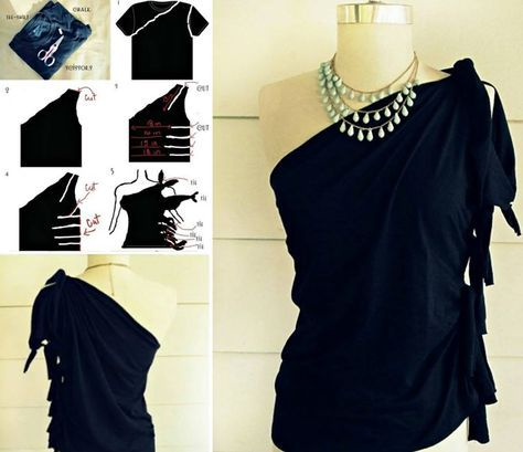 DIY No-sew One Shoulder Top from T-shirt