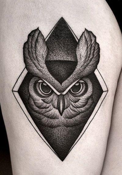 Creative Dotwork Owl Tattoo By Kamil Czapiga Owl Tattoo Mandala Tattoo Design Hand Tattoos
