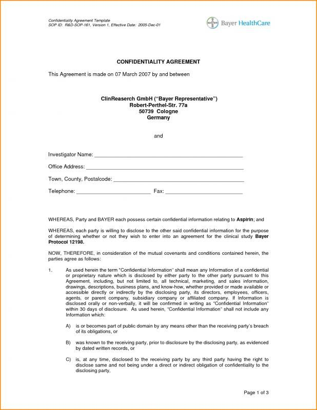 Sample Confidentiality Agreement template Pinterest