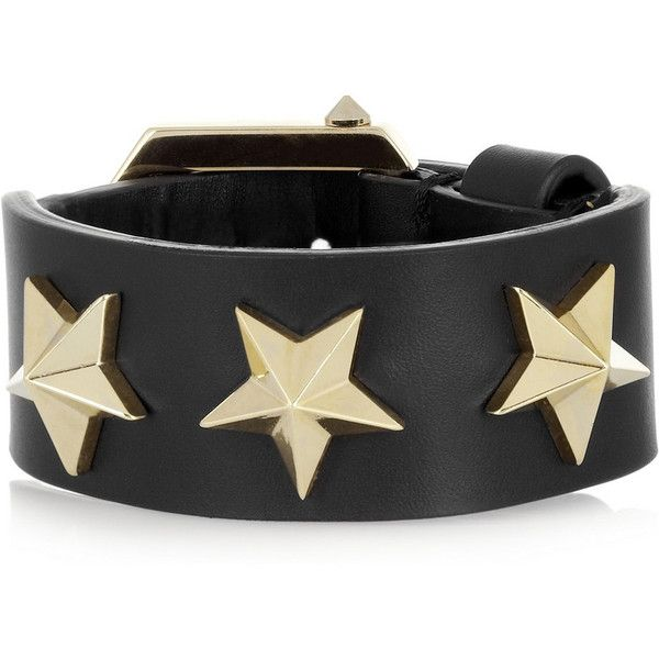 Givenchy Star black leather bracelet ($530) ❤ liked on Polyvore featuring jewelry, bracelets, givenchy, black, gold jewellery, black bangles, leather bracelet jewelry, star jewelry, bracelet bangle and star bangled