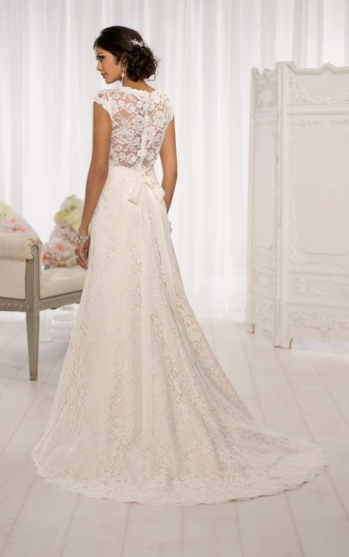 60fe6cda411e Elegant cap sleeve wedding dresses feature a gorgeous Lace over Dolce Satin  A-line silhouette. Exclusive designer cap sleeve wedding dresses by Essense  of ...