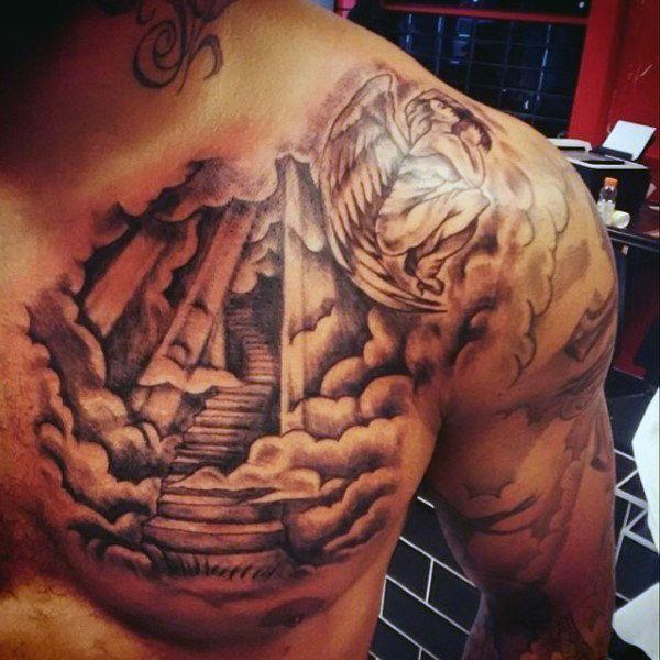 sonne und wolken tattoo f r m nner auf der oberen brust. Black Bedroom Furniture Sets. Home Design Ideas