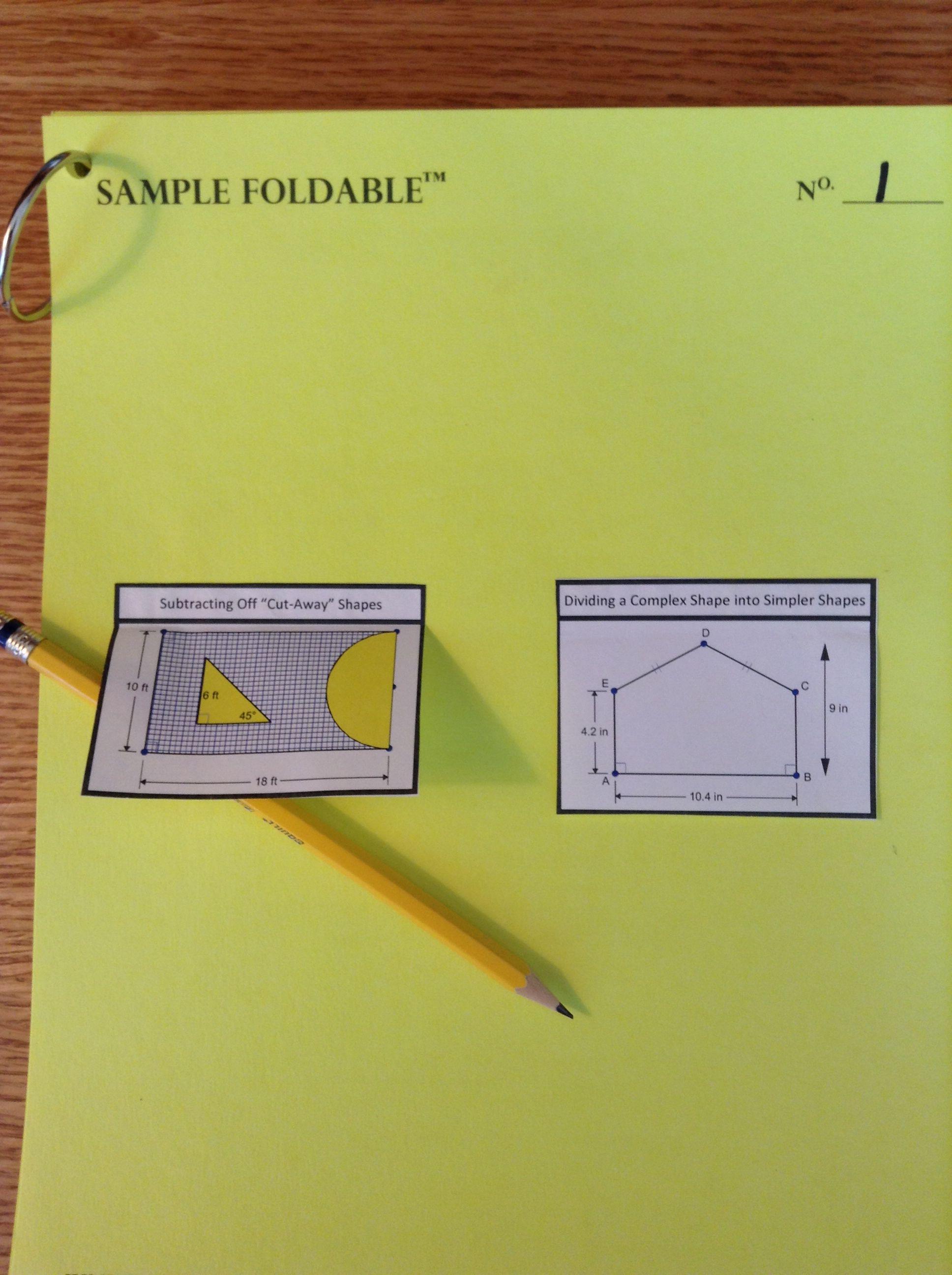Area Of Composite Figures Foldables
