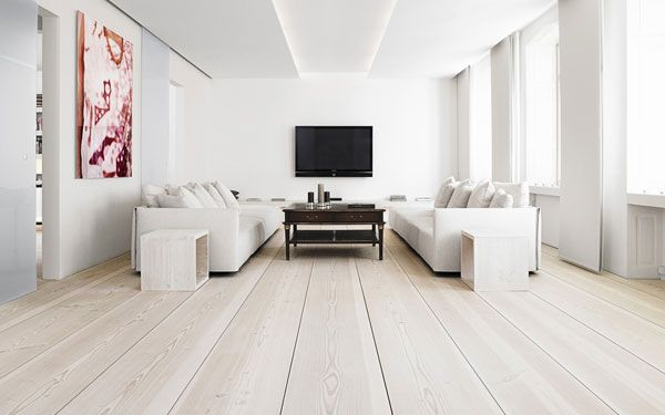 Minimalistic Beautiful Living Room Design White White Oak Floors Solid Oak Floors Living room ideas oak flooring