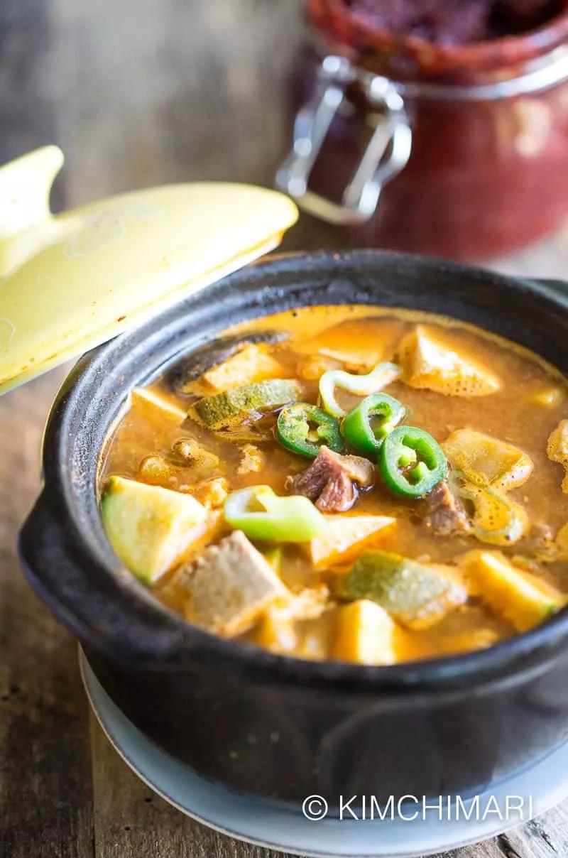 Beef Doenjang Jjigae Soybean Paste Stew Using Restaurant Kalbi Leftovers Recipe In 2020 Food Stew Asian Recipes