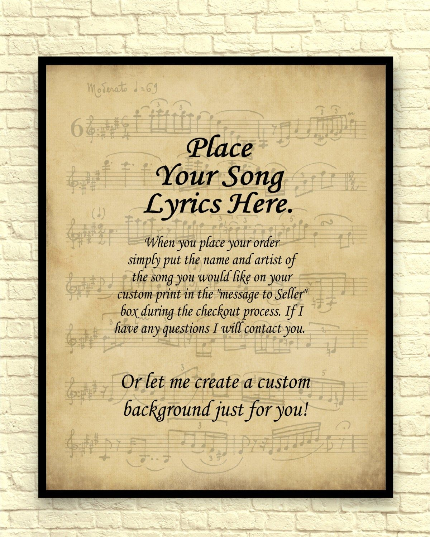 Song Lyrics Art Print Custom Art Print Sheet Music Art Print Vintage Sheet Music Custom Gift Wedding Gift Anniversary Gift Song Lyrics Art Sheet Music Art Custom Art