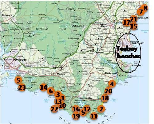 South Devon England Map.South Devon Beaches Map All Things British Devon Beach South