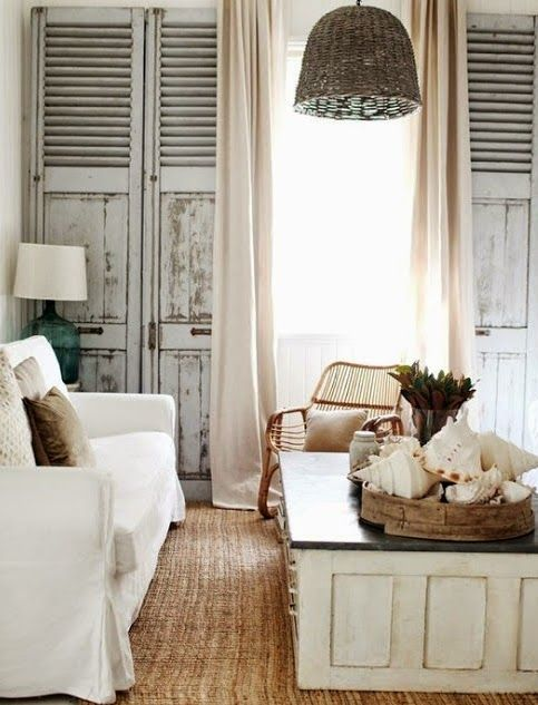 Bring those rustic shutters inside Theyre perfect for a coastal