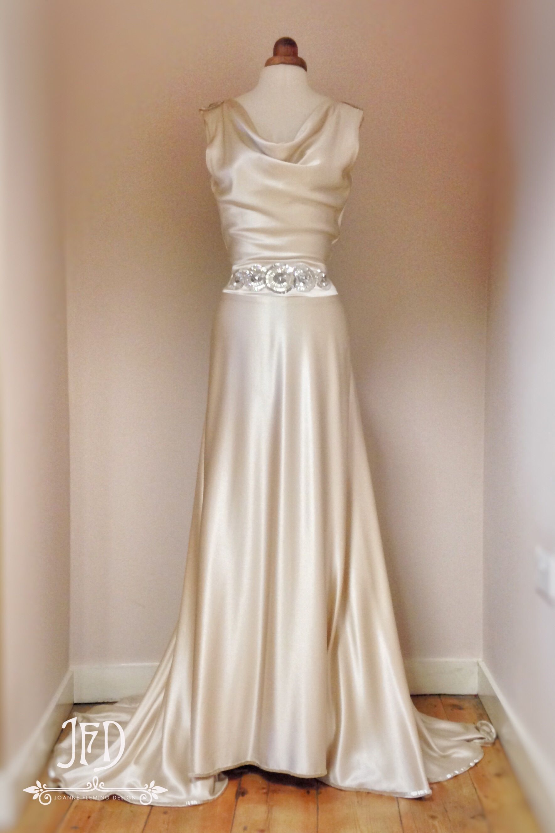 Sample Sale Oyster Silk Satin Art Deco Wedding Dress With Hand Beaded Detailing Size Uk10 Art Deco Wedding Dress Deco Wedding Dress Trendy Wedding Dresses