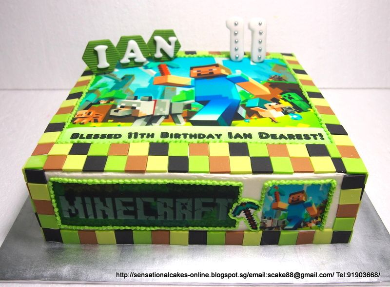 Pin By Nancy Beard On Cakes Minecraft Birthday Cake Minecraft