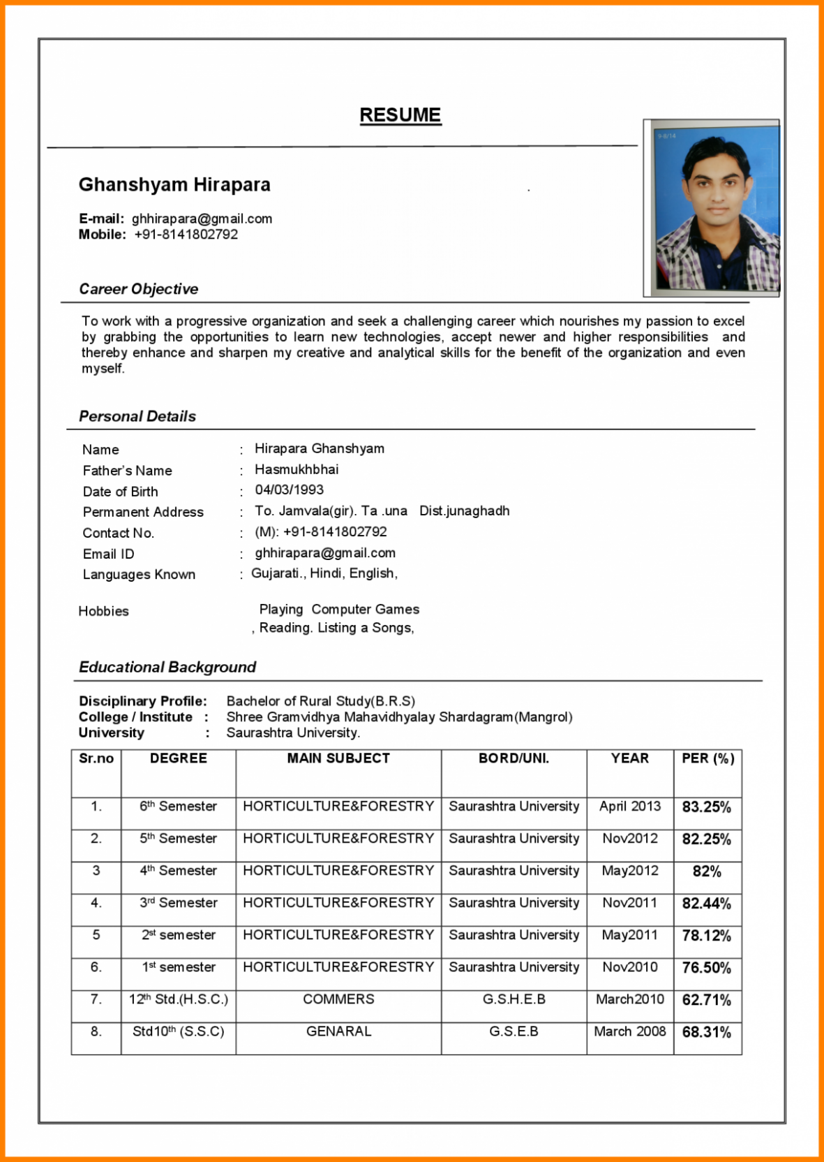 15 Pattern Resume Phrase Doc In 2020 Resume Format Examples Job Resume Format Resume Format