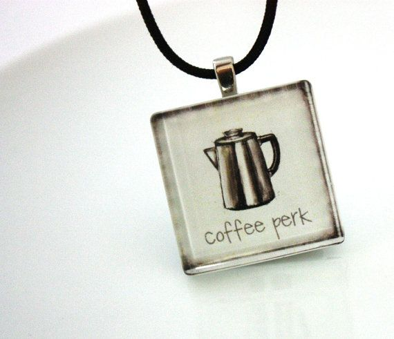 Coffee Jewelry White Coffee Pot Glass Tile by WoodenNickelsJewelry, $16.00