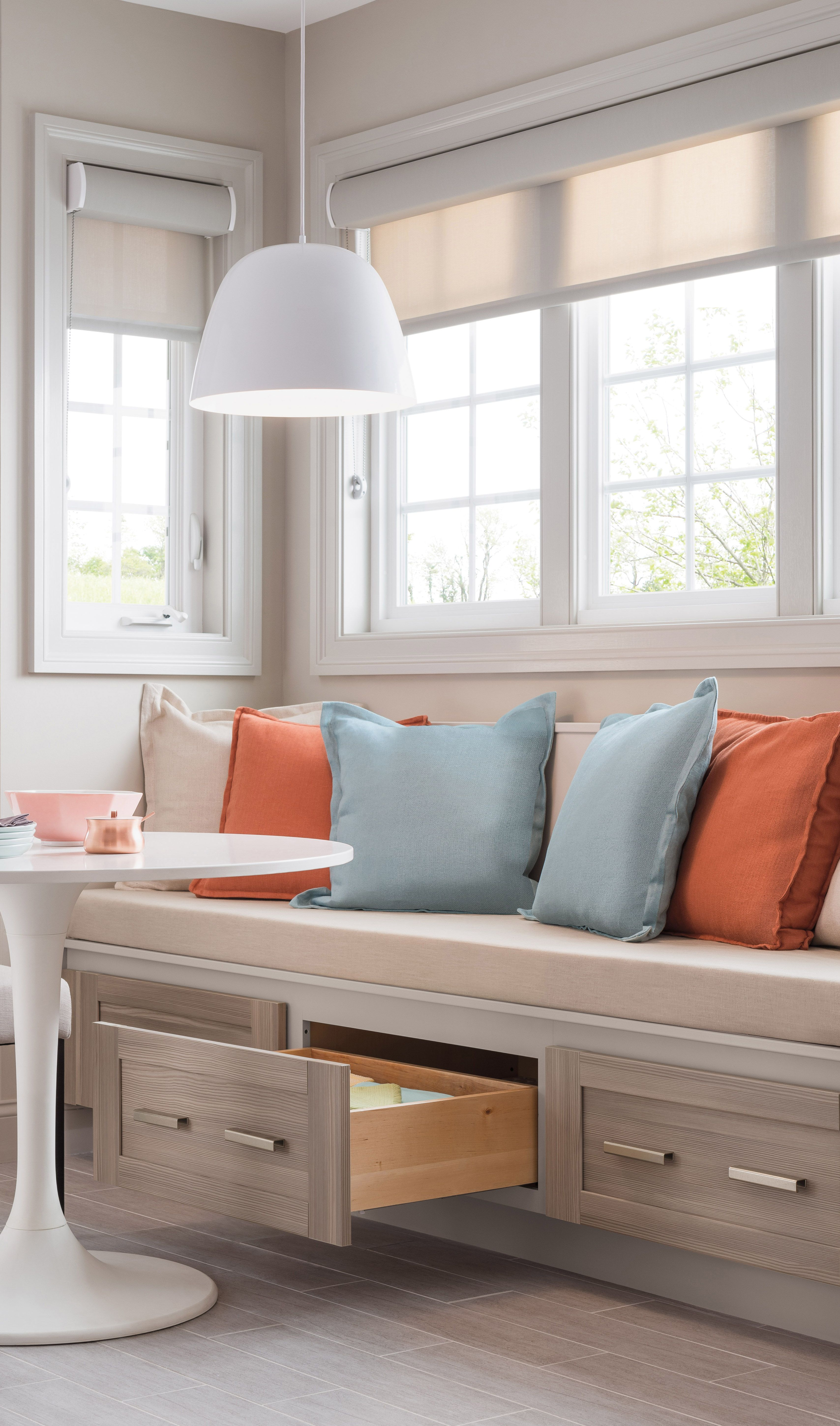 Create a breakfast nook with kitchen cabinetry it 39 s for Small kitchen seating