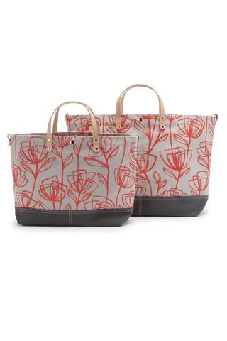 Color Block Vessel Tote Bag - Printed Poppy by Queen Bee by Rebecca Pearcy