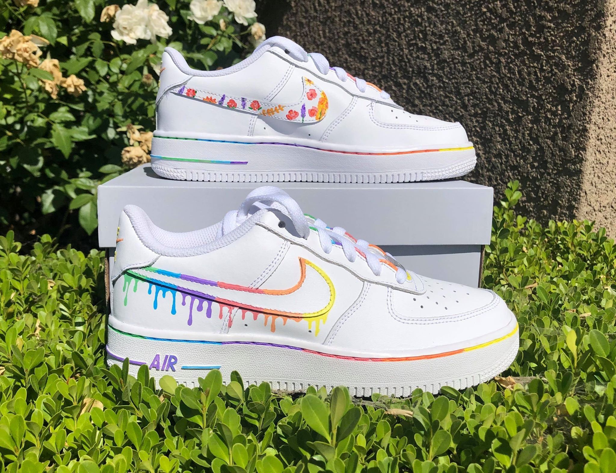 Nike Air Force 1 Rainbow Drip and Floral Pattern Etsy in