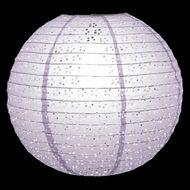"16"" Round Eyelet Lace Look Paper Lantern - Lavender"