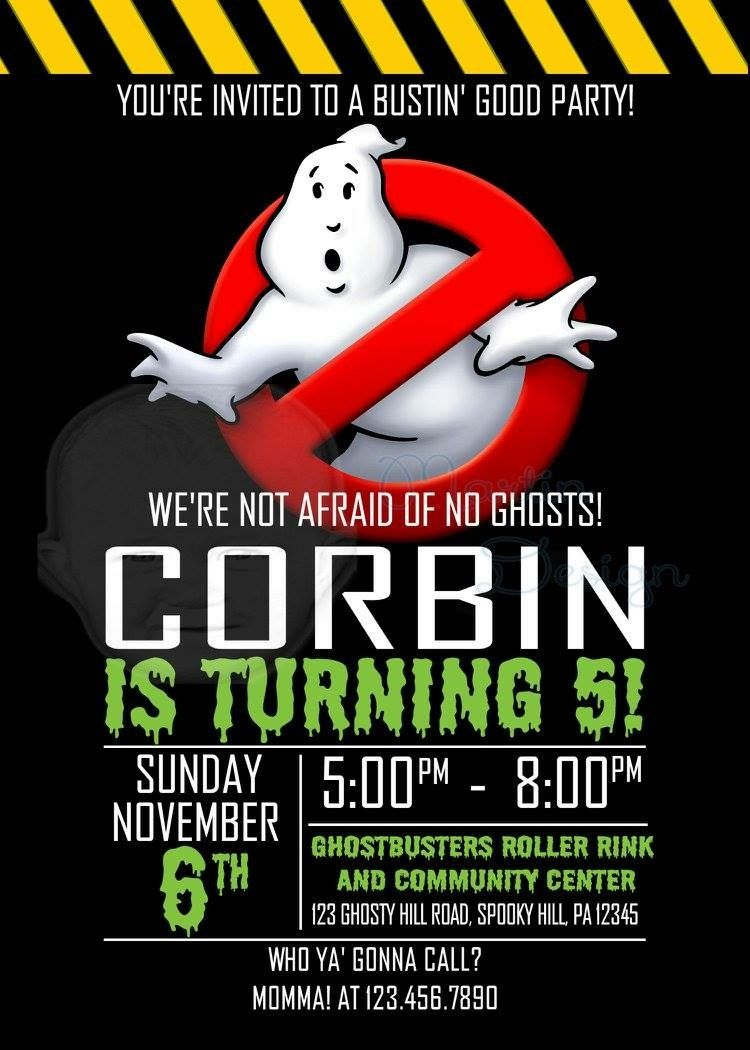 Ghostbusters Birthday Invitation Age Can Be Adjusted Neat