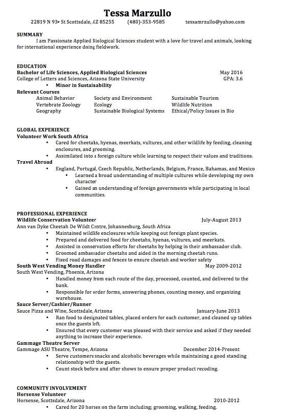 animal science resume objective examples