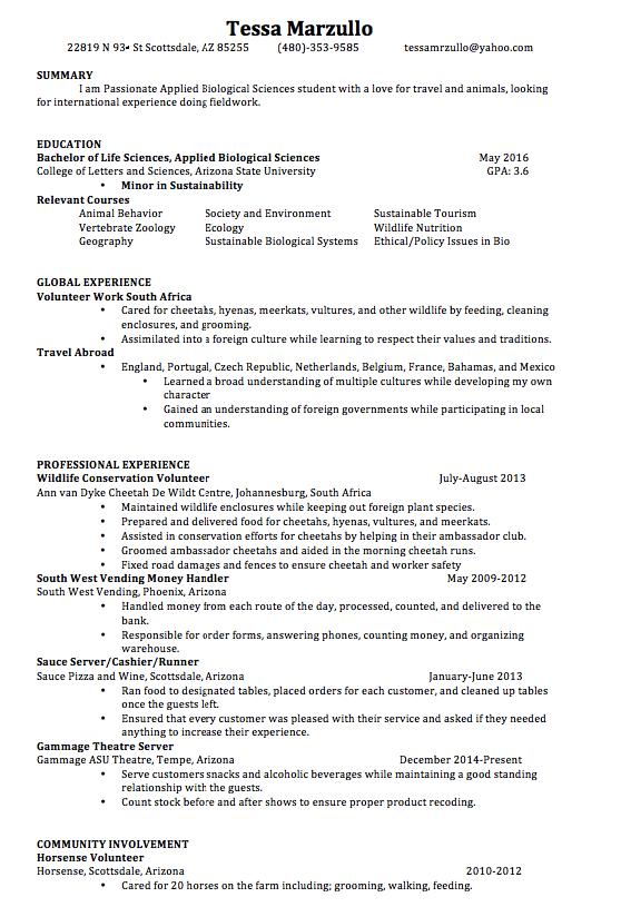 Animal Shelter Volunteer Resume Samples Tessa Marzullo 22819 N 93rd St Scottsdale Az 85255 480 353 9585 Resume Guide Job Resume Samples Resume
