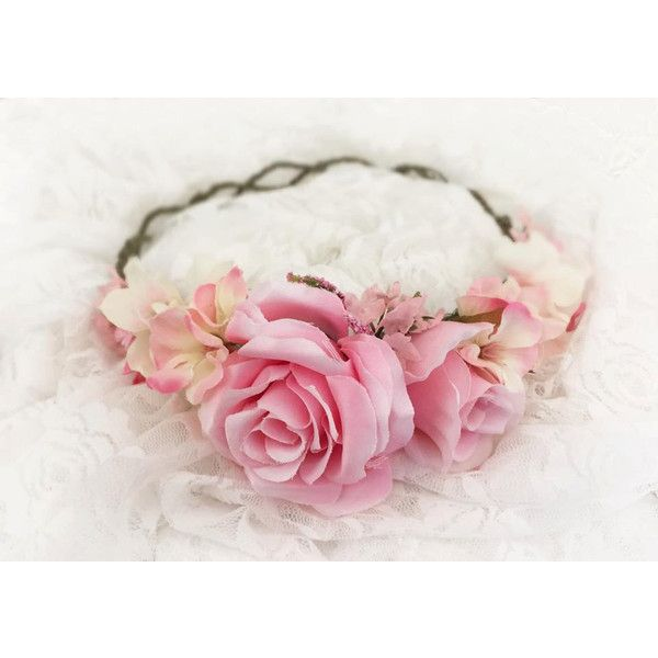 Avery in Pink Floral Crown Full Floral Grapevine Crown Ready to Ship... ($40) ❤ liked on Polyvore featuring accessories, hair accessories, hats, hair, flower crowns, black, wreaths & tiaras, floral crown, holiday garland and pink tiara