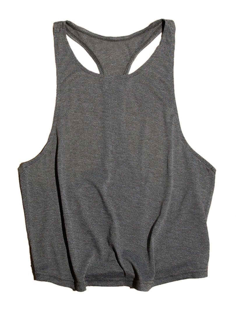 Gray Extreme Dropped Armholes Vest | abaday