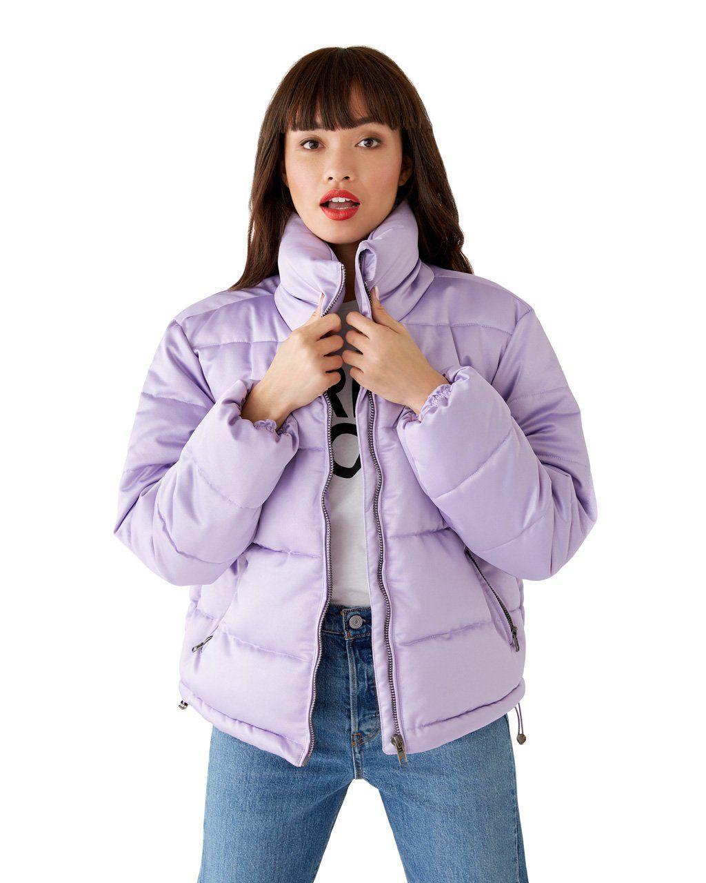 Lilac Puffer Jacket By Glamorous Jacket Ban Do Puffer Jacket Women Puffer Jacket Outfit Jackets [ 1280 x 1024 Pixel ]