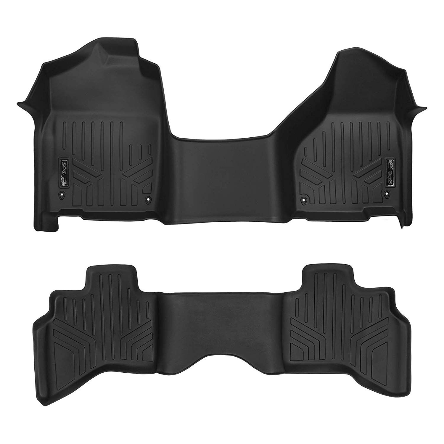 Black for 2019-2020 Ram 2500//3500 Crew Cab with 1st Row Bench Seat MAXLINER Custom Floor Mats Set Both Rows 1pc