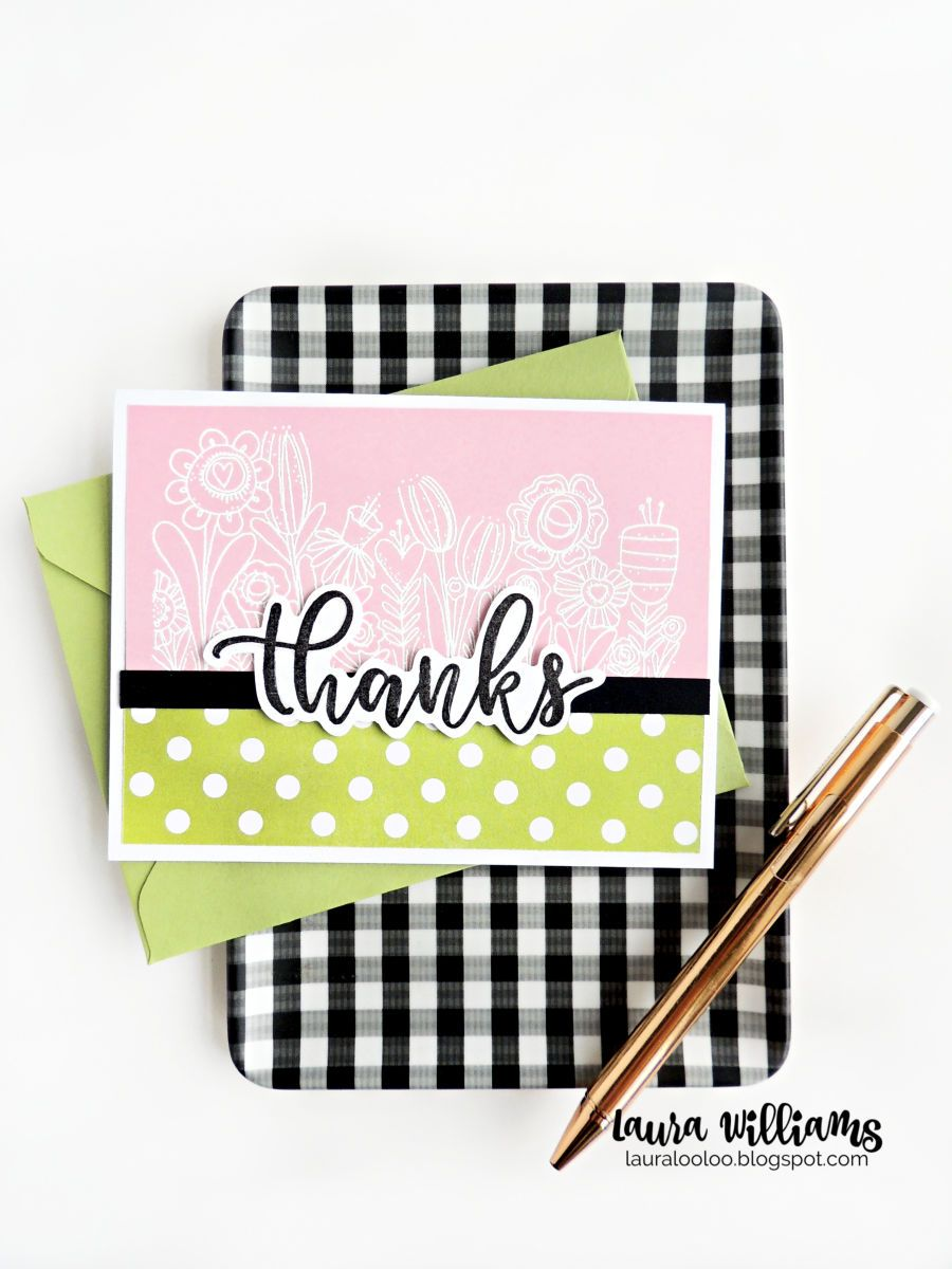 Ideas for making clean and simple thank you cards using red rubber stamps from Impression Obsession. This is my favorite