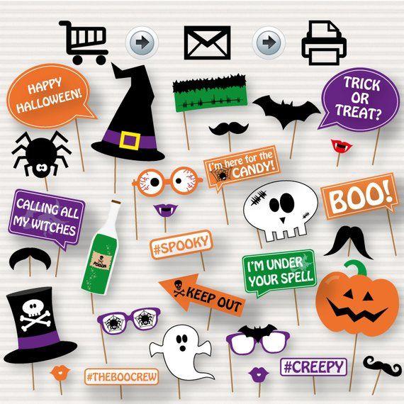 graphic regarding Halloween Photo Booth Props Printable named Halloween Printable Picture Booth Props -Printable Halloween