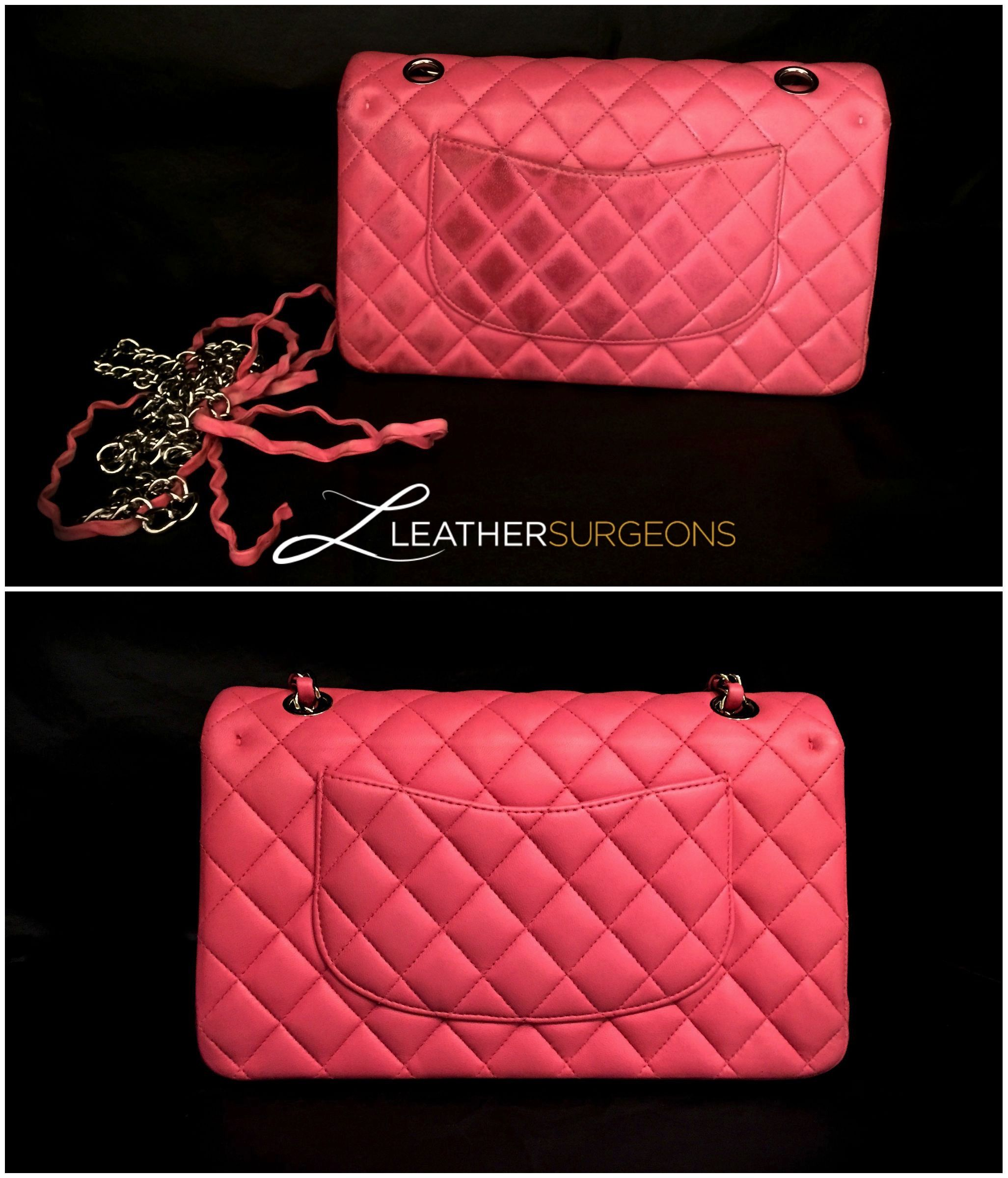 79e900a19fd80e Pink Chanel Classic before and after a spa treatment at Leather Surgeons.  #leathersurgeons #authentic #handbagrepair #ChanelClassic #BeforeandAfter  #Fashion ...