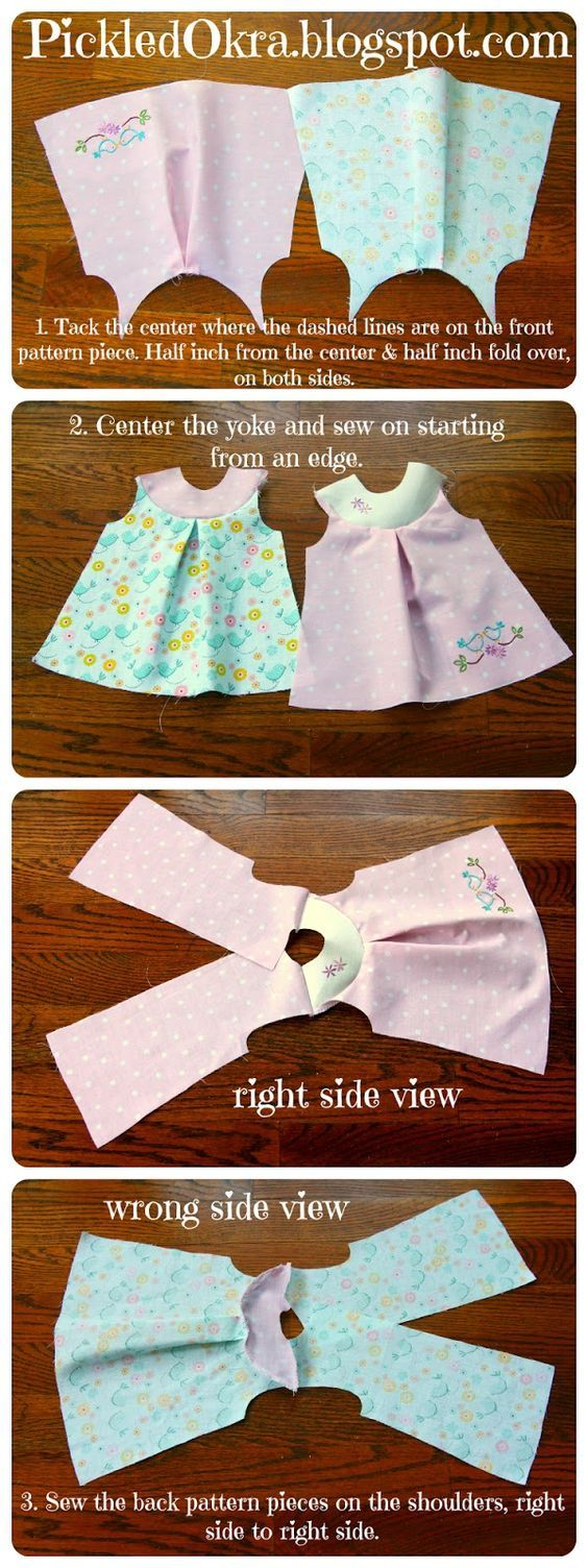 This easy and free sewing pattern is so cute. I think I will make these for our American Girl dolls. #dolldresspatterns