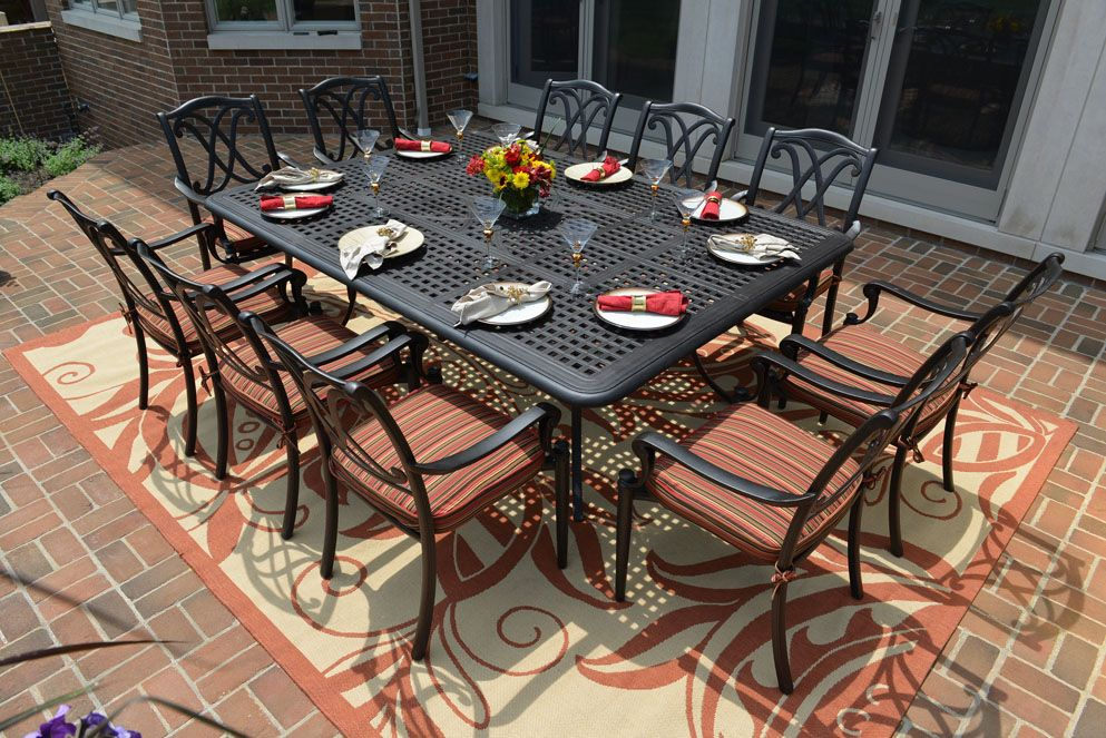 The Renata Collection All Welded Cast Aluminum Patio Furniture Dining Set