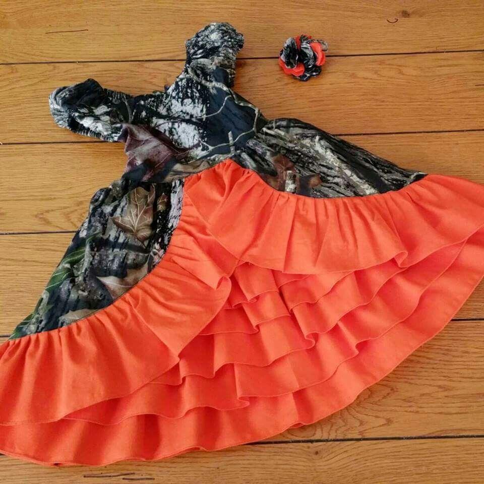Camo and orange wedding dresses  Omg what a cute flower girl dress   wedding ideas