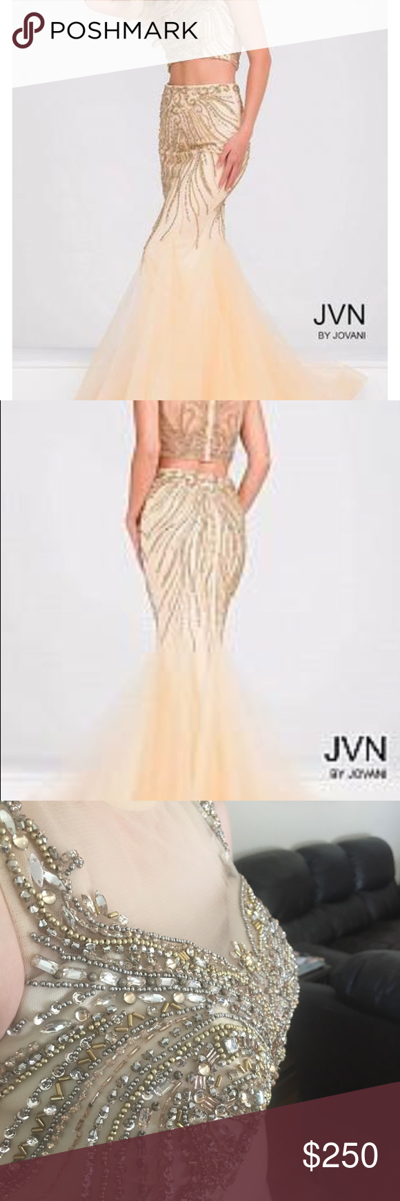 Jvn by jovani nudegold prom dress sadly re poshing daughter didnut