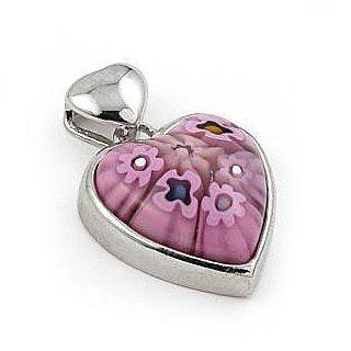 Pink Murano Glass Millefiori Small Heart Pendant West Coast Jewelry. $27.95. Save 44%!