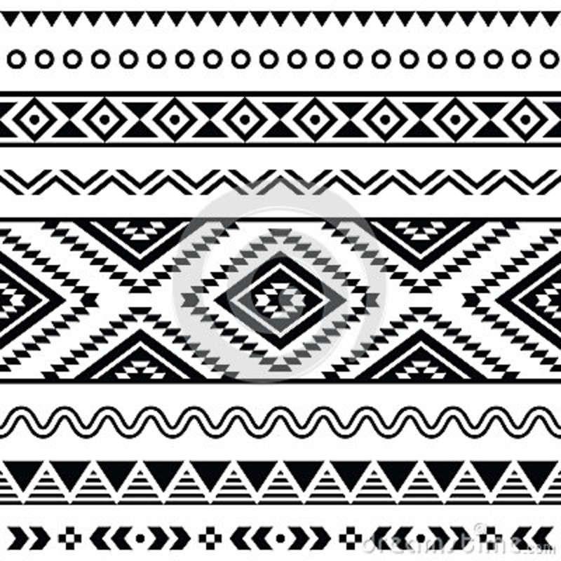 White And Names Print Aztec Black