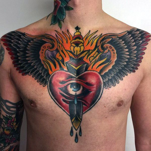 60 Traditional Breast Tattoo Designs for Men – Old School Ink Ideas