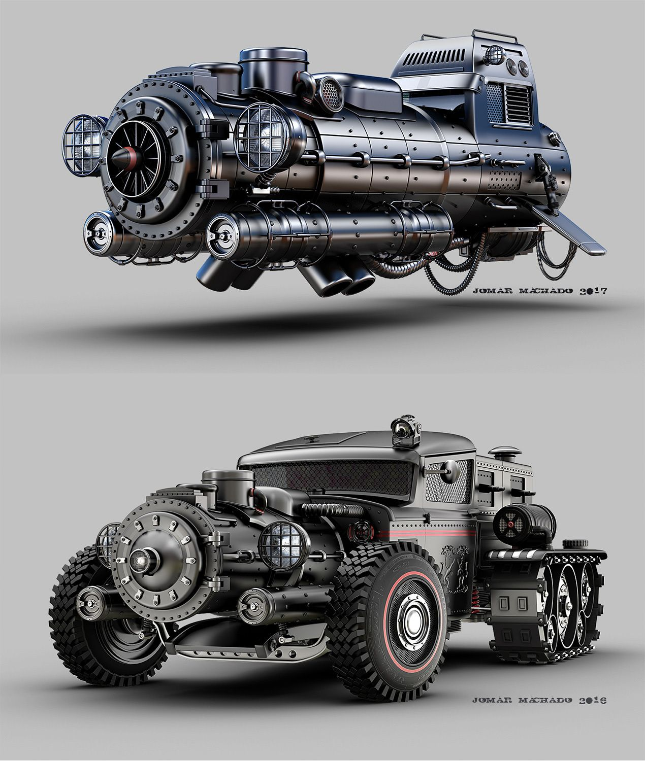 Take A Look At These Two Awesome Looking Steampunk Or Possibly Dieselpunk Vehicles Illustration By Jomar M Dieselpunk Vehicles Futuristic Cars Concept Cars