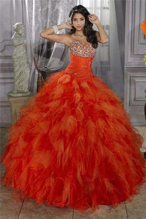 Pretty Ball Gown Orange Organza Quinceanera Dress With Beading ...
